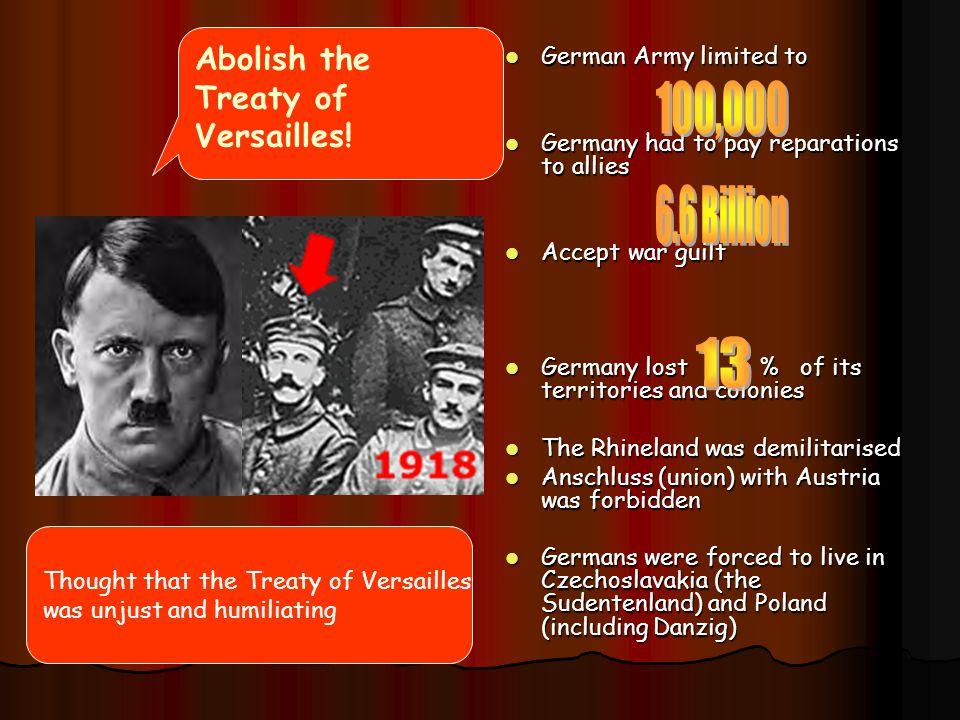 100,000 6.6 Billion 13 Abolish the Treaty of Versailles!
