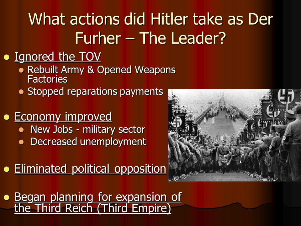 What actions did Hitler take as Der Furher – The Leader