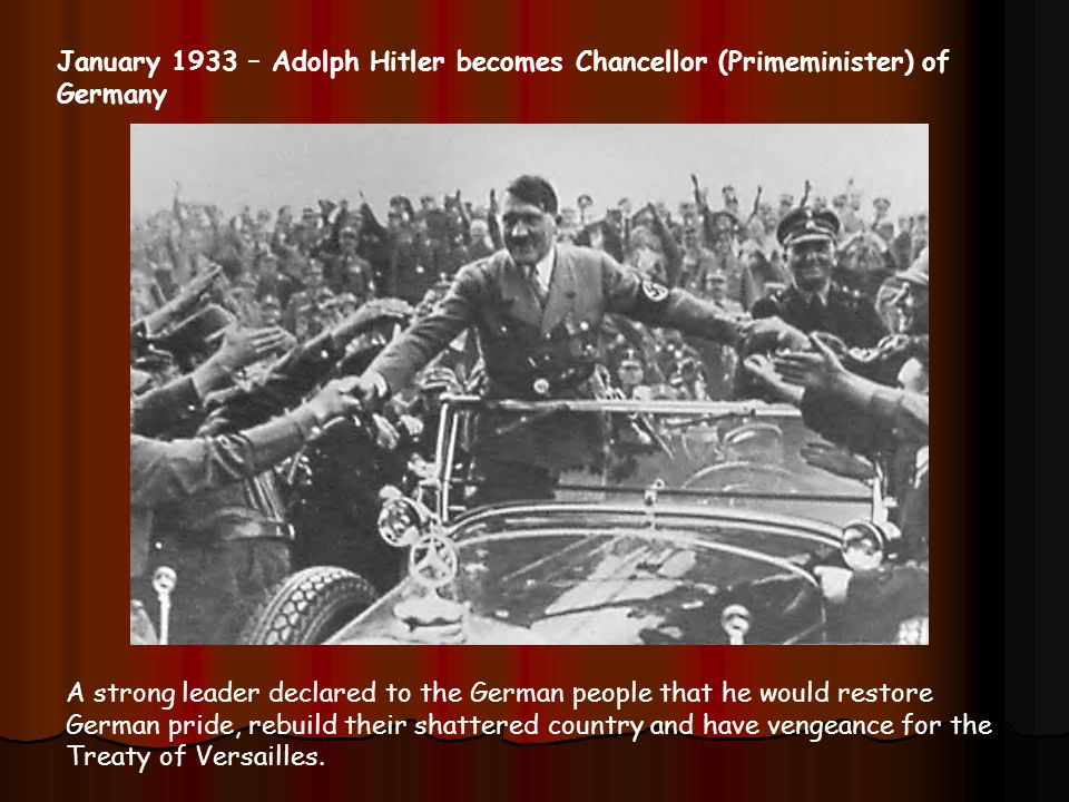 January 1933 – Adolph Hitler becomes Chancellor (Primeminister) of Germany