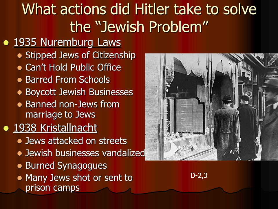 What actions did Hitler take to solve the Jewish Problem