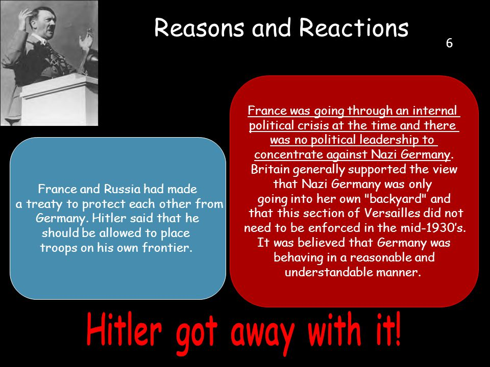Reasons and Reactions Hitler got away with it! 6