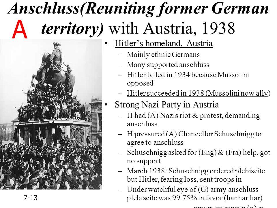 Anschluss(Reuniting former German territory) with Austria, 1938