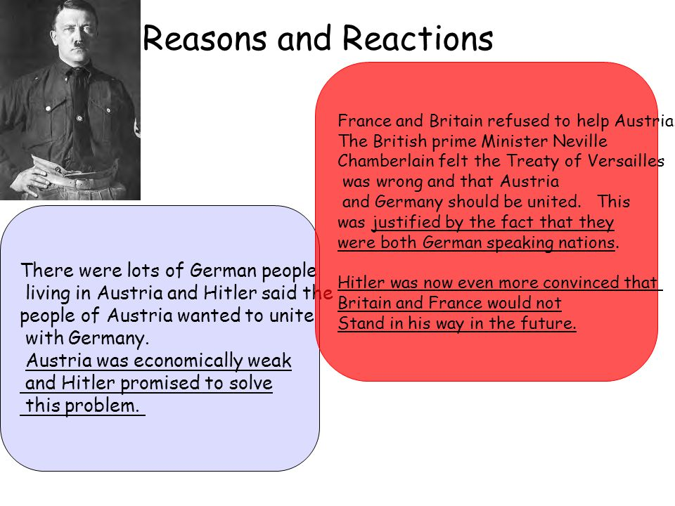 Reasons and Reactions There were lots of German people