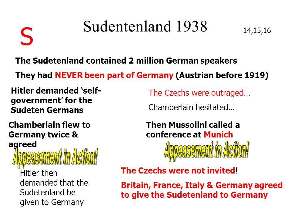 S Sudentenland 1938 Appeasement in Action! Appeasement in Action!