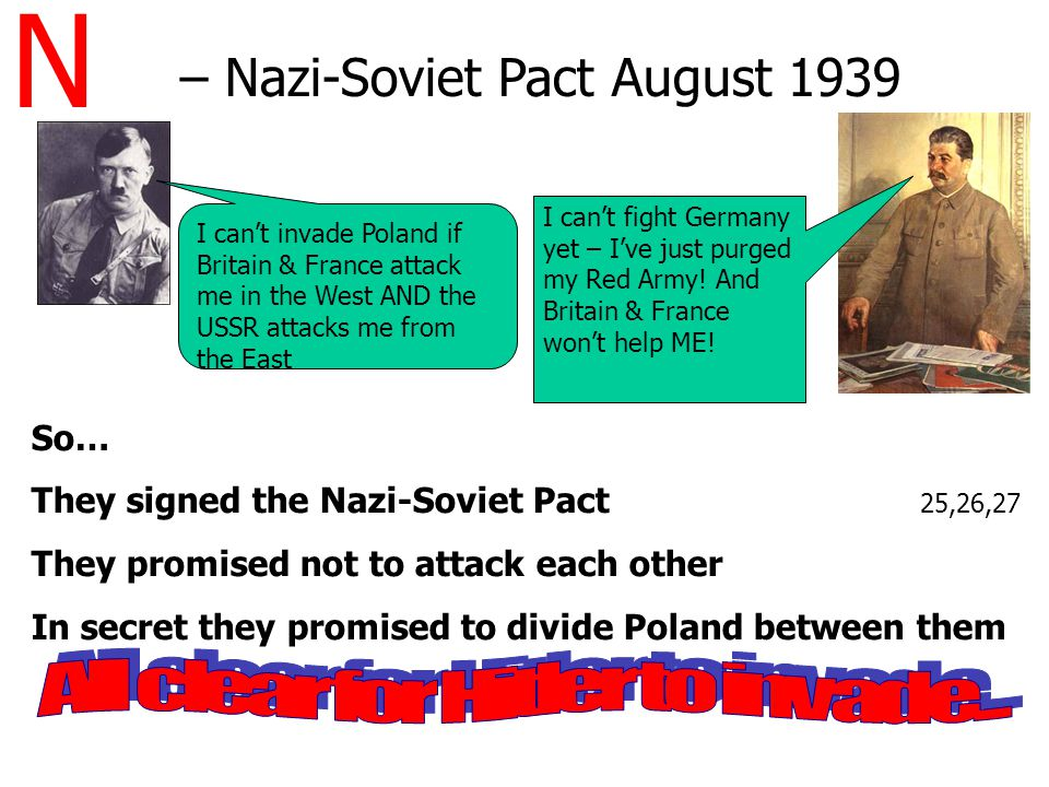 N – Nazi-Soviet Pact August 1939 So… They signed the Nazi-Soviet Pact