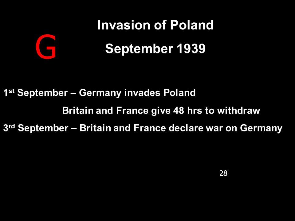 G Invasion of Poland September 1939