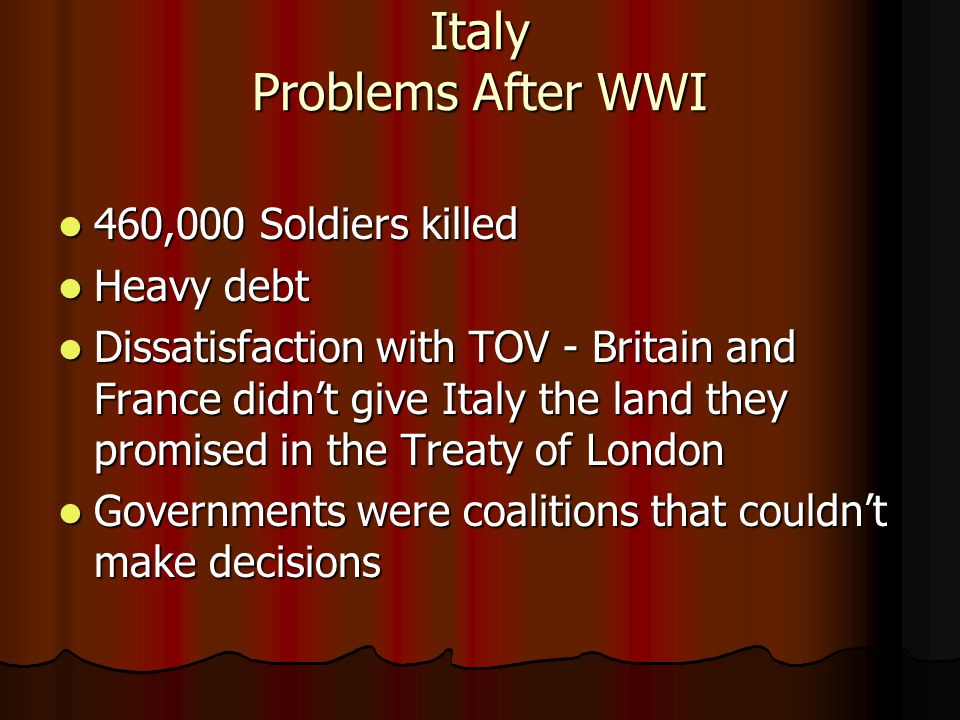 Italy Problems After WWI