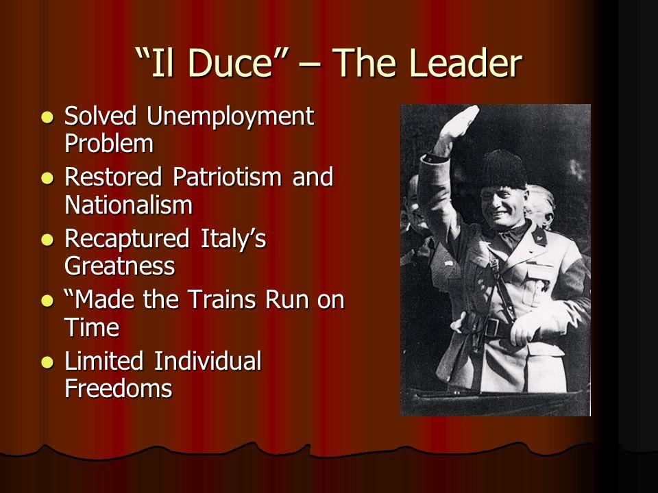 Il Duce – The Leader Solved Unemployment Problem