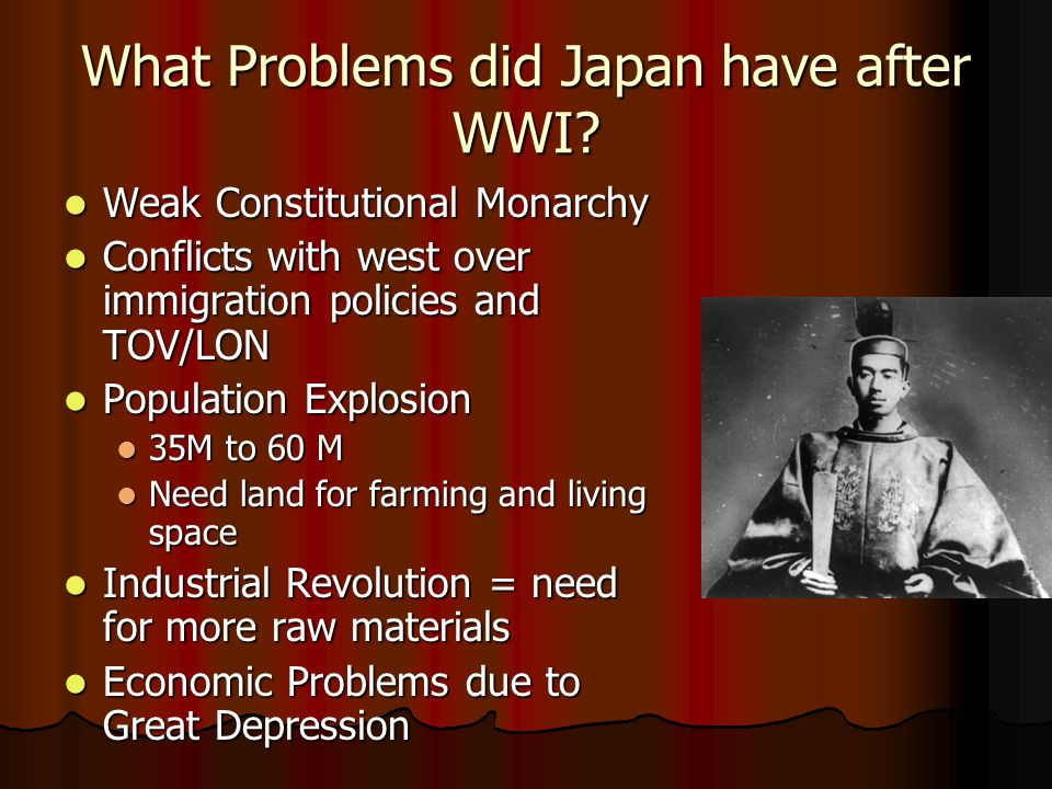 What Problems did Japan have after WWI