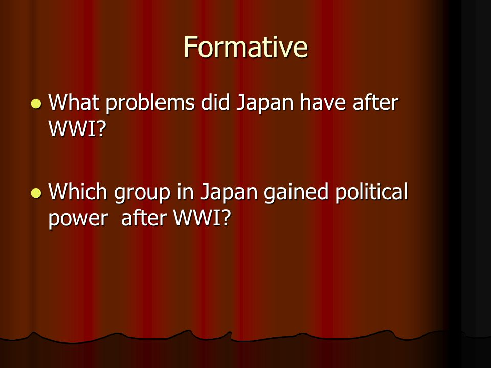 Formative What problems did Japan have after WWI