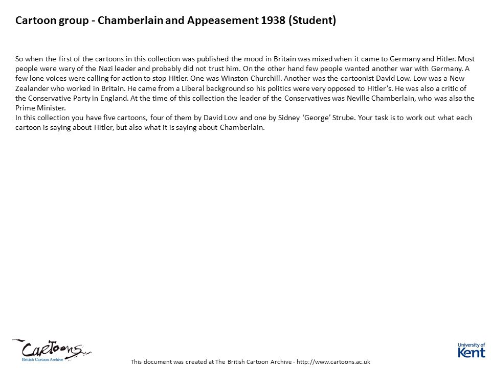Cartoon group - Chamberlain and Appeasement 1938 (Student)