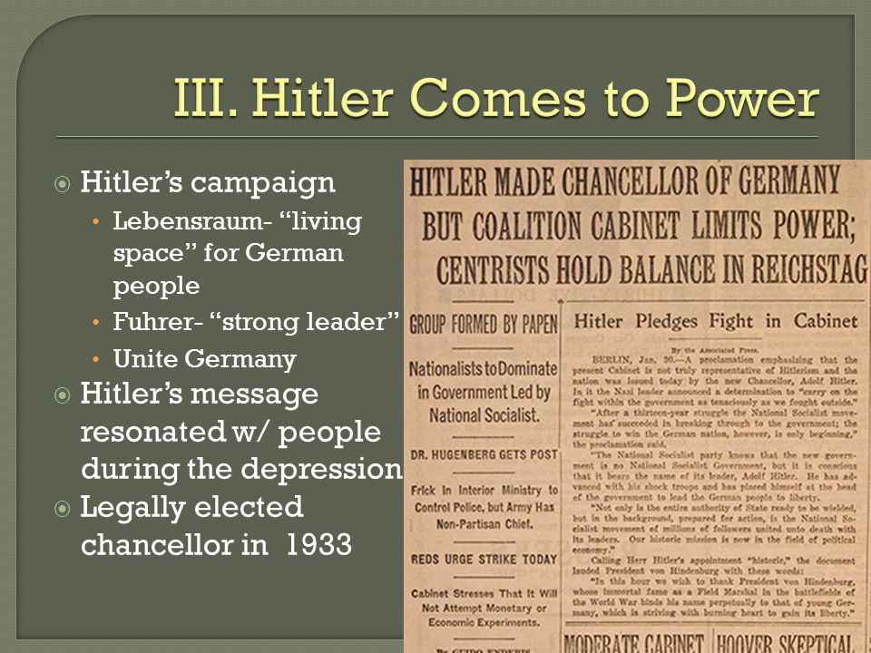 III. Hitler Comes to Power