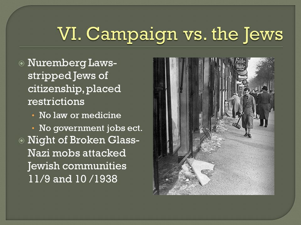 VI. Campaign vs. the Jews Nuremberg Laws- stripped Jews of citizenship, placed restrictions. No law or medicine.