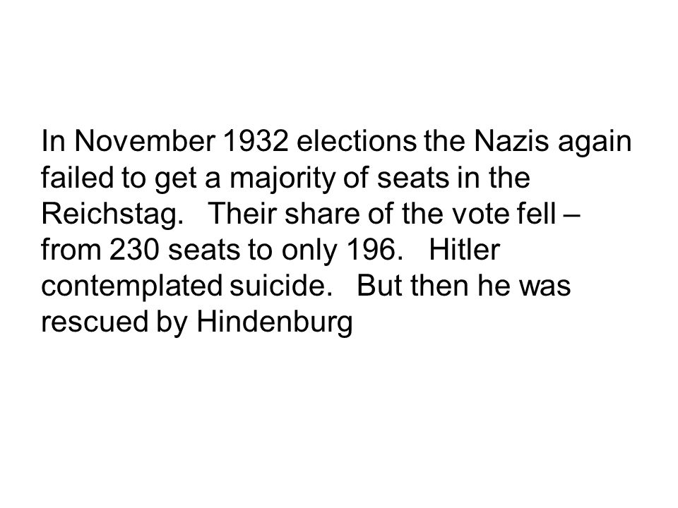 In November 1932 elections the Nazis again failed to get a majority of seats in the Reichstag.