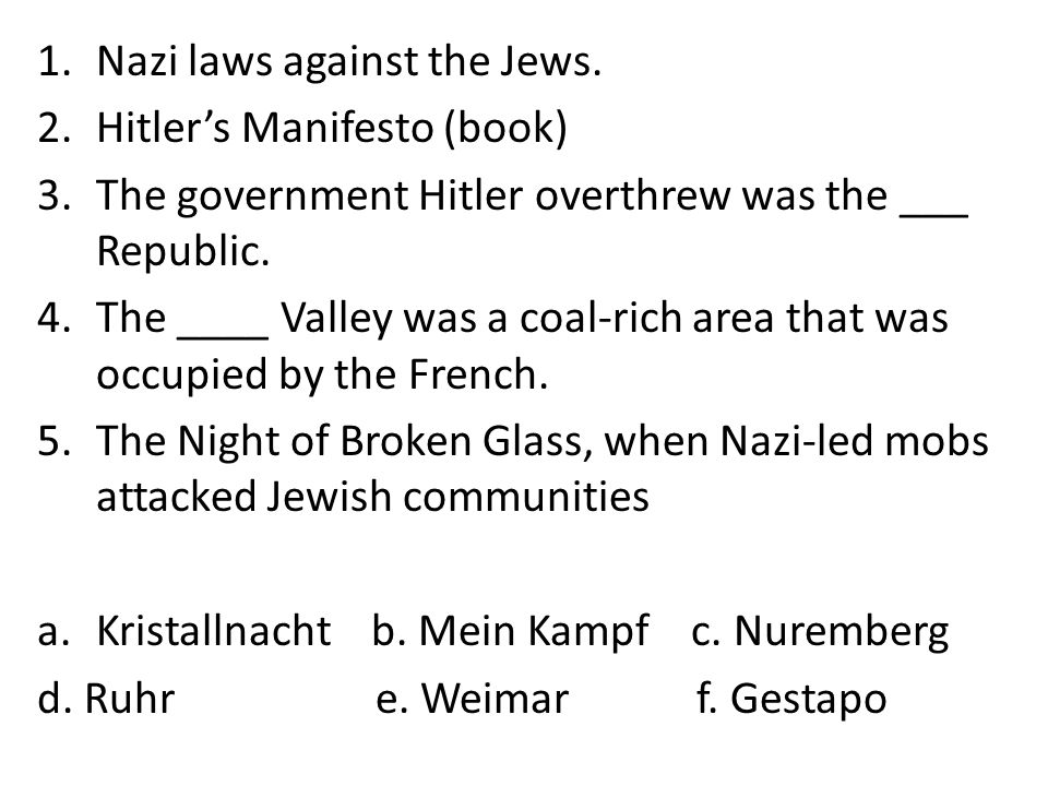 Nazi laws against the Jews.