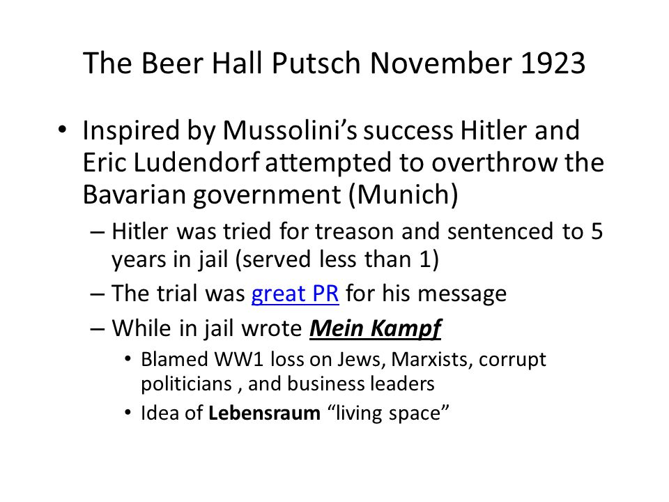 The Beer Hall Putsch November 1923