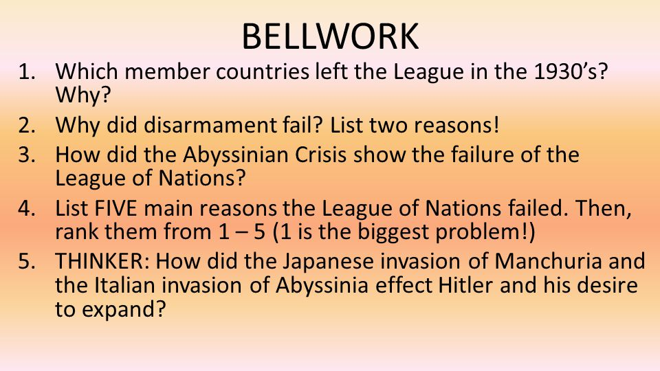 BELLWORK Which member countries left the League in the 1930's Why