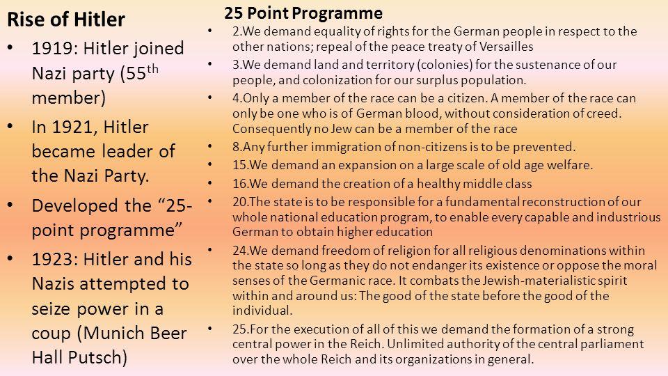 Rise of Hitler 1919: Hitler joined Nazi party (55th member)