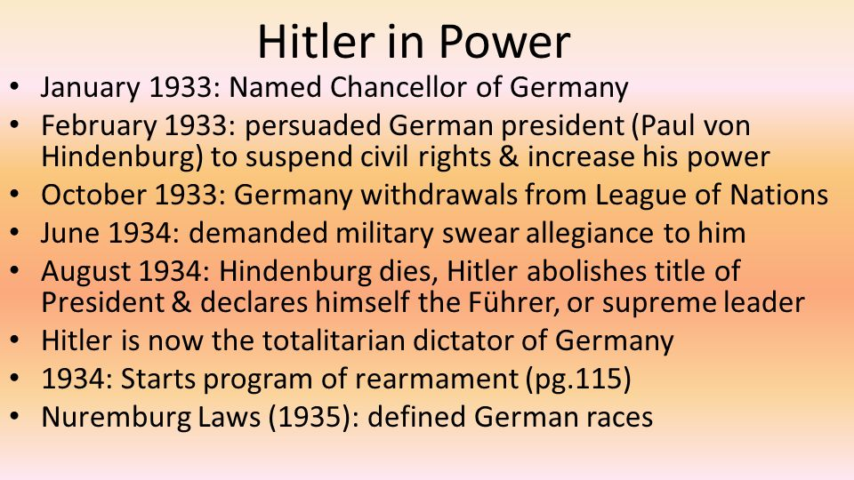 Hitler in Power January 1933: Named Chancellor of Germany