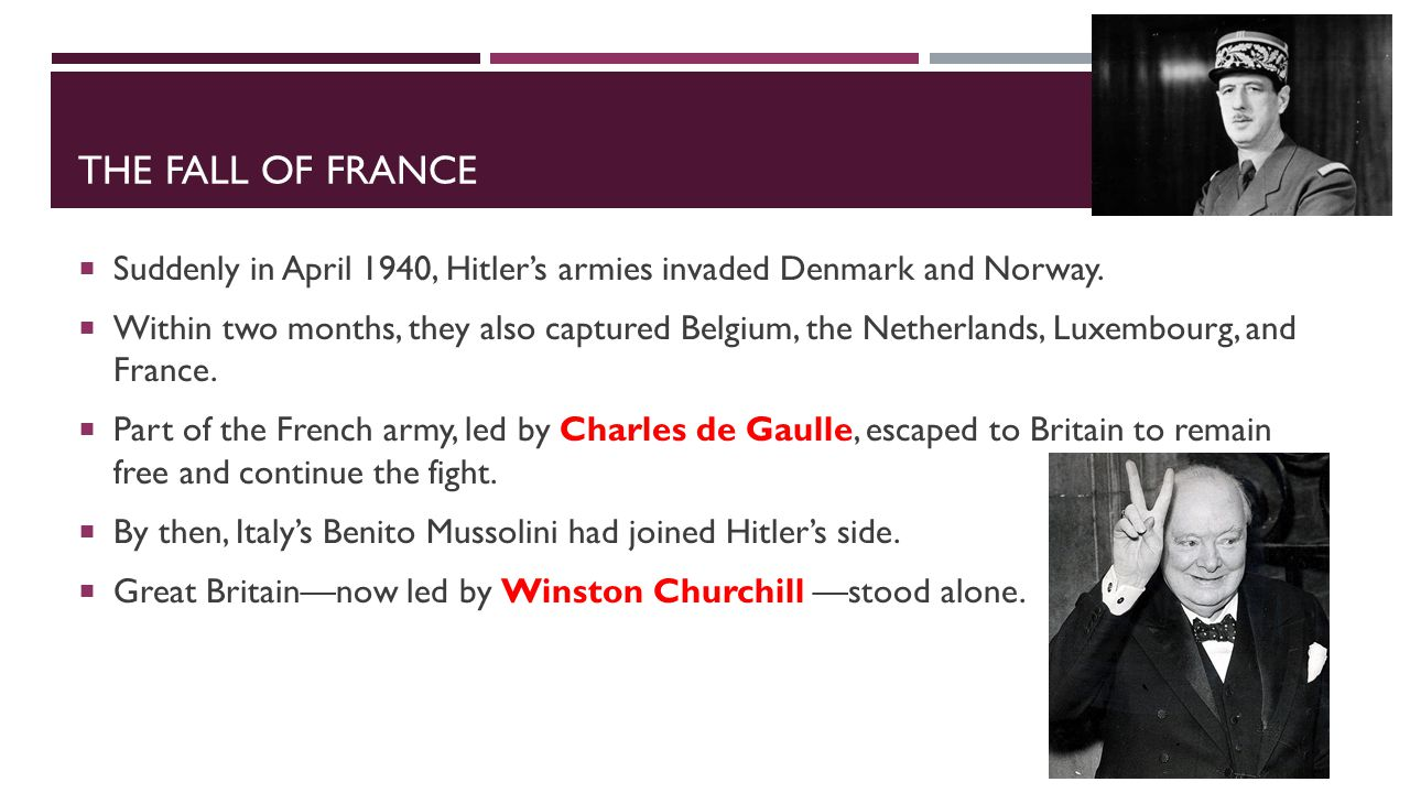 The Fall of France Suddenly in April 1940, Hitler's armies invaded Denmark and Norway.