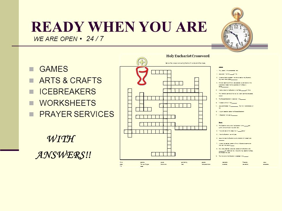 READY WHEN YOU ARE ANSWERS!! GAMES ARTS & CRAFTS ICEBREAKERS