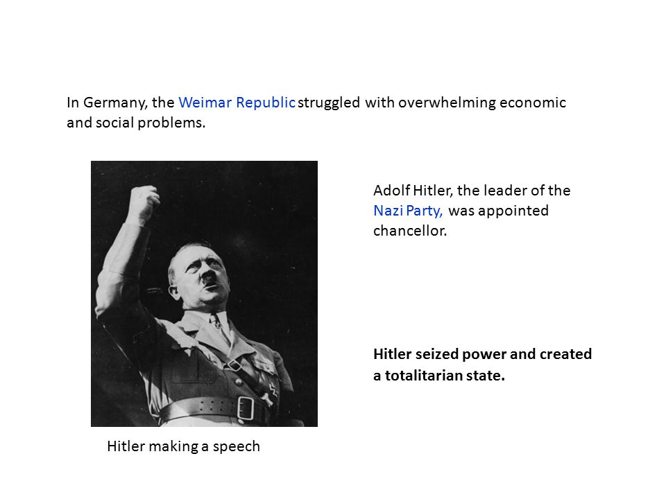 Adolf Hitler, the leader of the Nazi Party, was appointed chancellor.