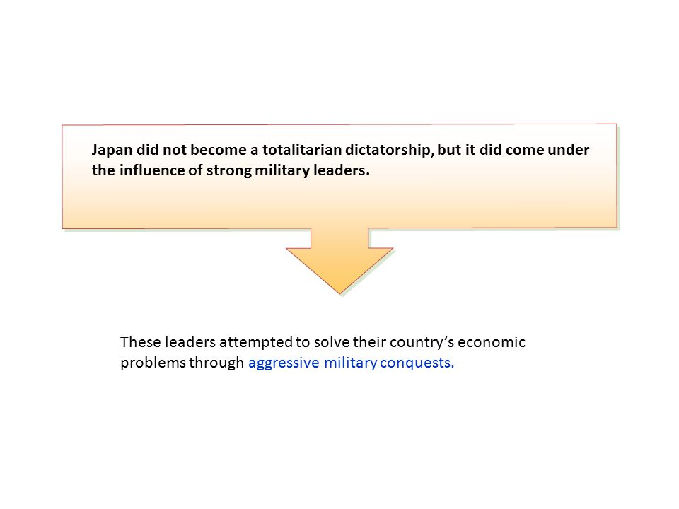 Japan did not become a totalitarian dictatorship, but it did come under the influence of strong military leaders.