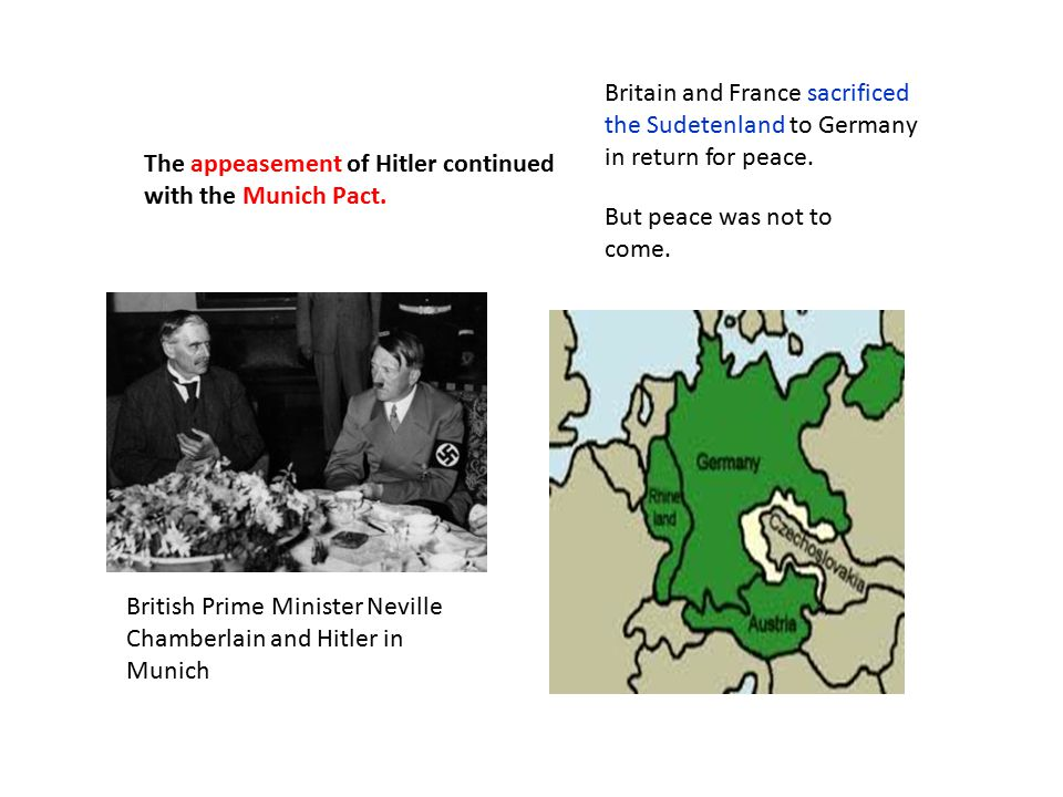The appeasement of Hitler continued with the Munich Pact.