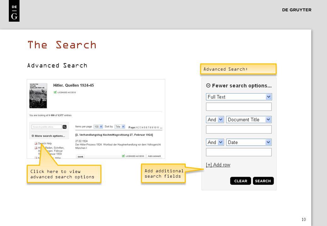 The Search Advanced Search Advanced Search: