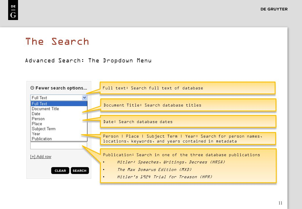 The Search Advanced Search: The Dropdown Menu