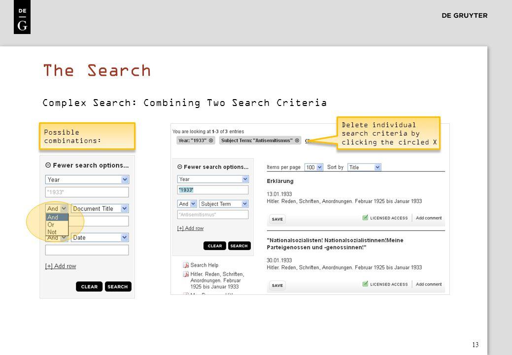 The Search Complex Search: Combining Two Search Criteria