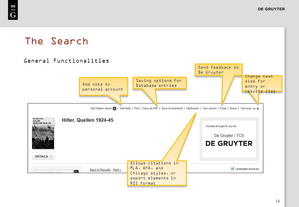 The Search General Functionalities Send feedback to De Gruyter