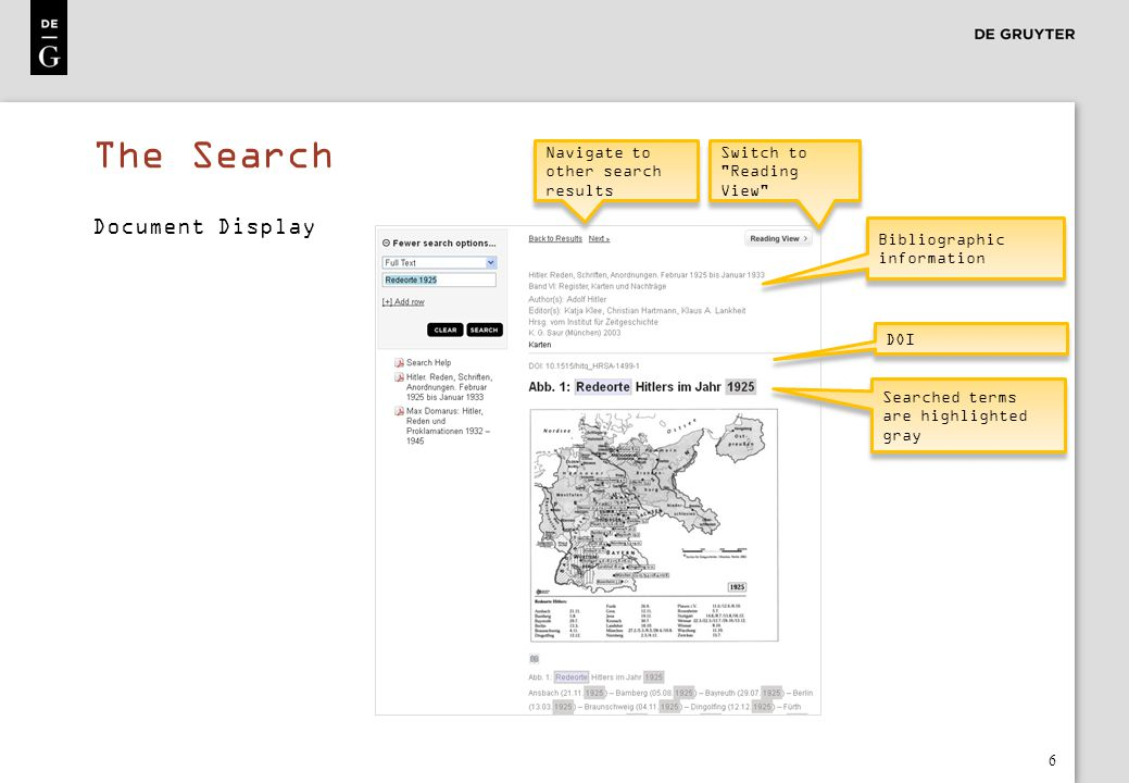 The Search Document Display Navigate to other search results