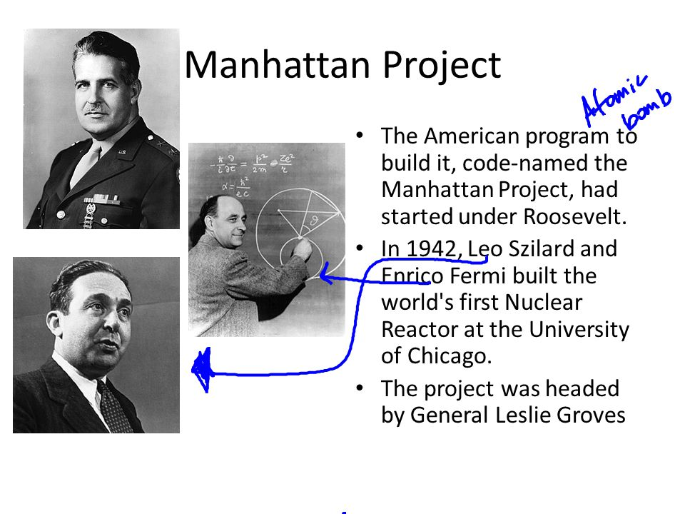 Manhattan Project The American program to build it, code-named the Manhattan Project, had started under Roosevelt.