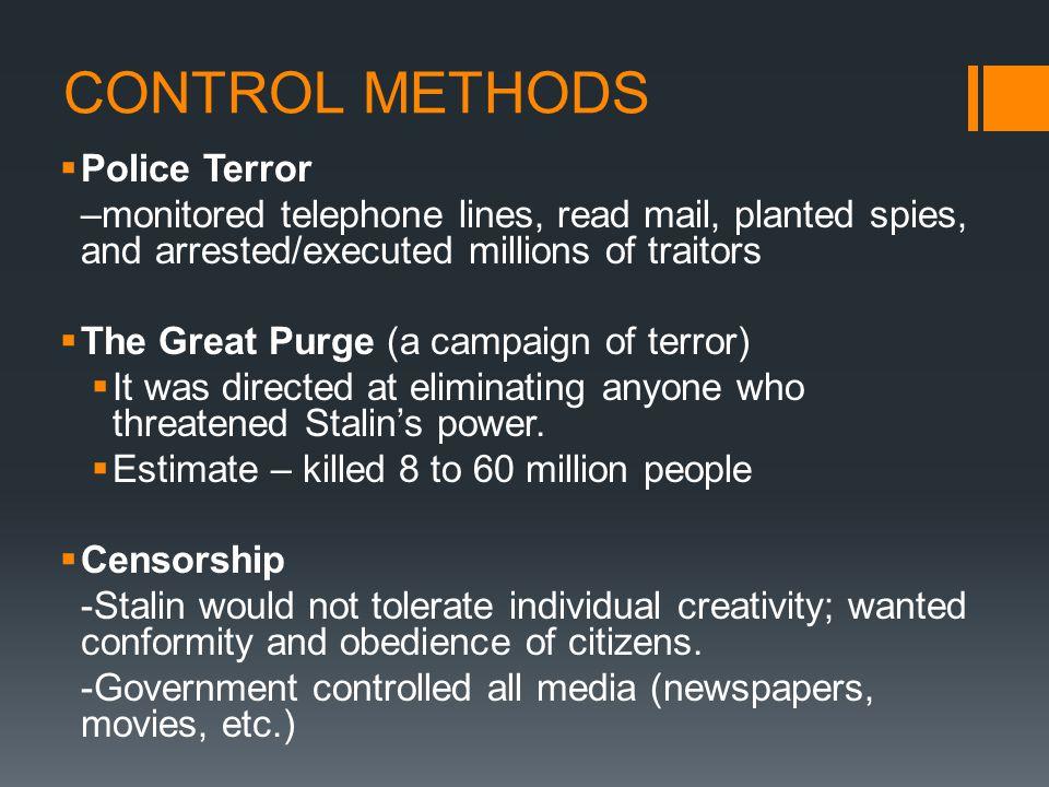 CONTROL METHODS Police Terror