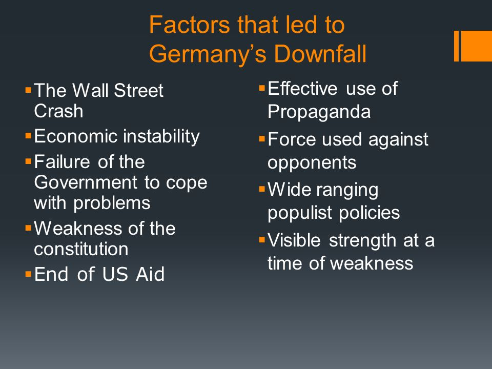 Factors that led to Germany's Downfall