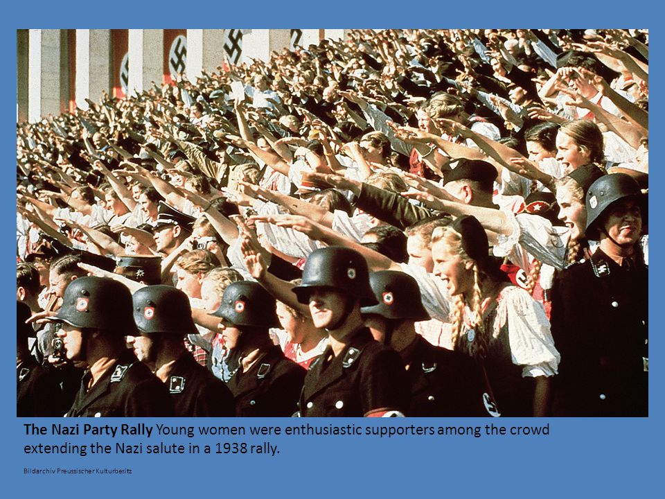 extending the Nazi salute in a 1938 rally.