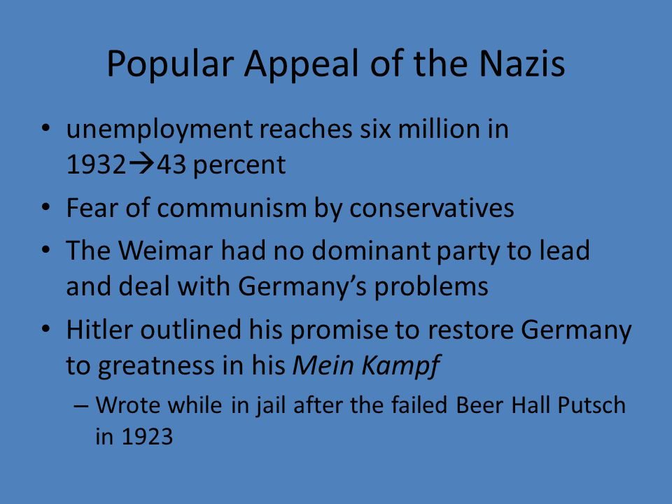 Popular Appeal of the Nazis