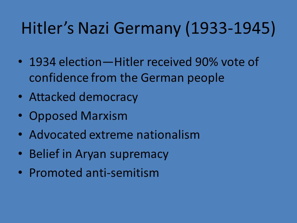Hitler's Nazi Germany (1933-1945)