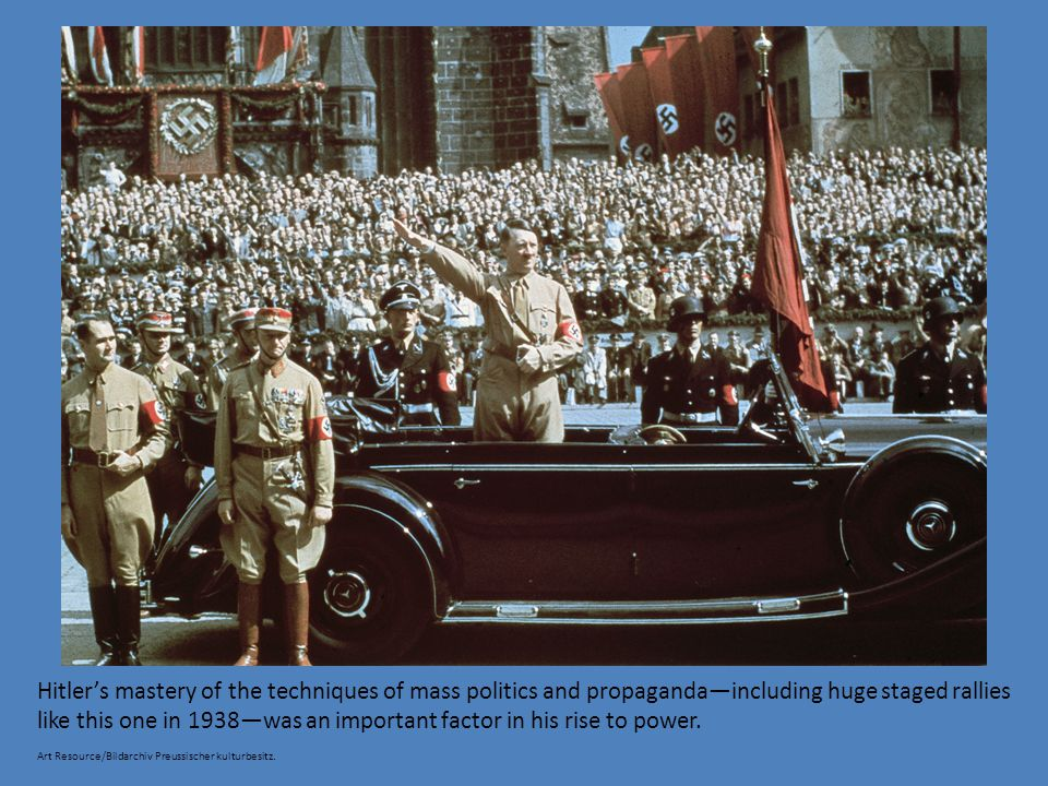 Hitler's mastery of the techniques of mass politics and propaganda—including huge staged rallies like this one in 1938—was an important factor in his rise to power.