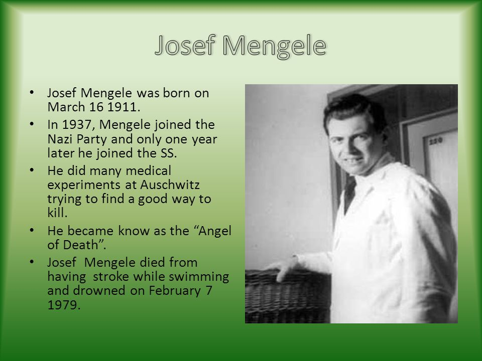 Josef Mengele Josef Mengele was born on March 16 1911.