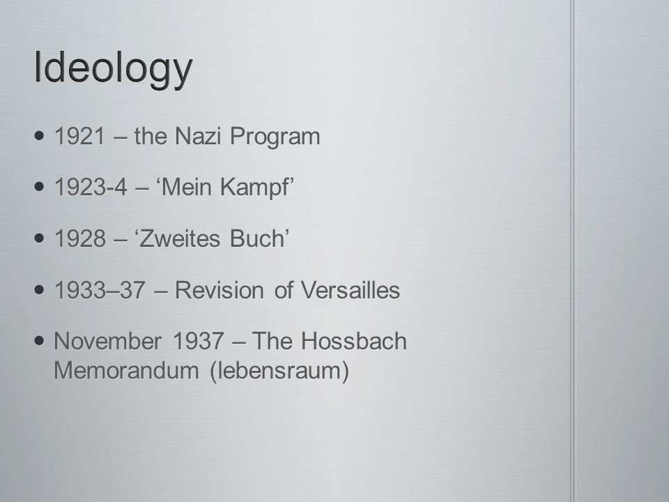 Ideology 1921 – the Nazi Program 1923-4 – 'Mein Kampf'