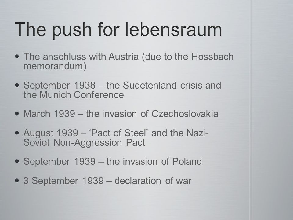 The push for lebensraum
