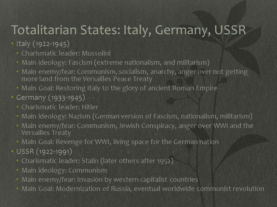 Totalitarian States: Italy, Germany, USSR