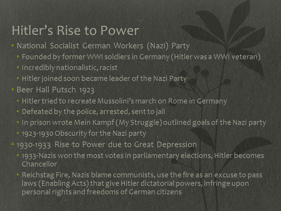 Hitler's Rise to Power National Socialist German Workers (Nazi) Party