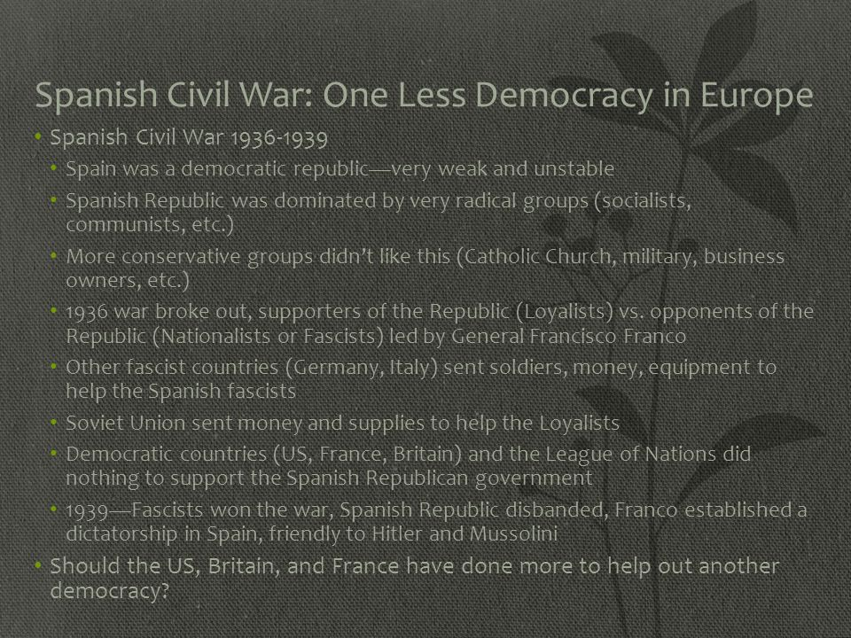 Spanish Civil War: One Less Democracy in Europe
