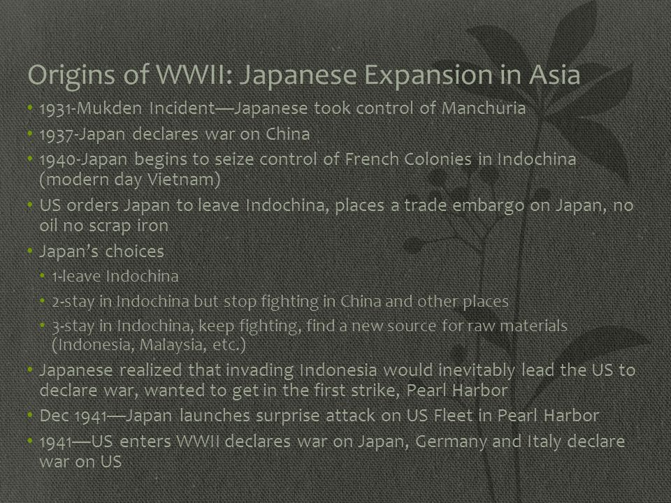 Origins of WWII: Japanese Expansion in Asia
