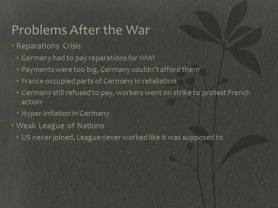 Problems After the War Reparations Crisis Weak League of Nations