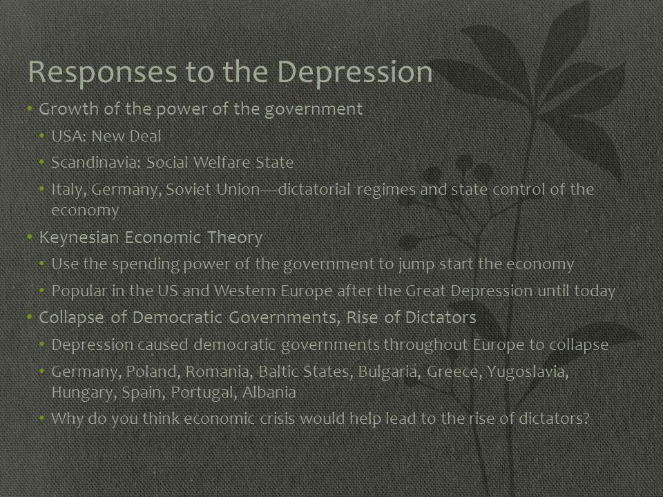 Responses to the Depression