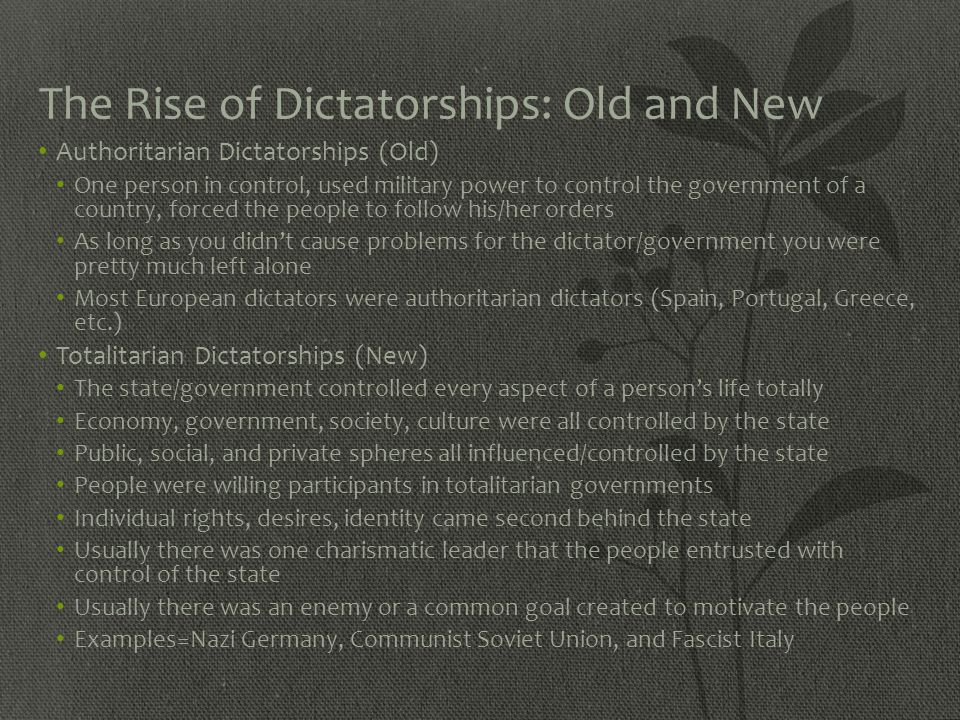 The Rise of Dictatorships: Old and New